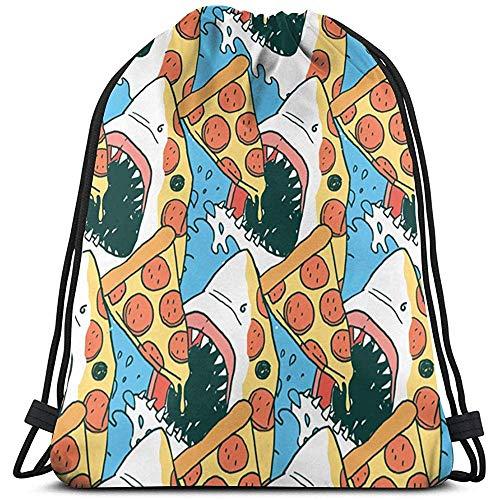 Roman Lin Rucksack Mit Kordelzug,Tunnelzug Gymsack,Sporttaschen,String Rucksack,Gym Sack Beutel,Pizza Shark Pouch Adult Leichte Travel Cinch Pack,String Pull Bag