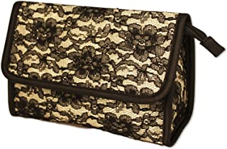 Mia Cosmetic Bag, Mirror Inside Bag Flap, Light Gold Satin with Beautiful Black Lace, Water Resistant Lining, for Make Up, Cosmetics, Lotion, Shampoo, for Travel, Office, Purse, Briefcase