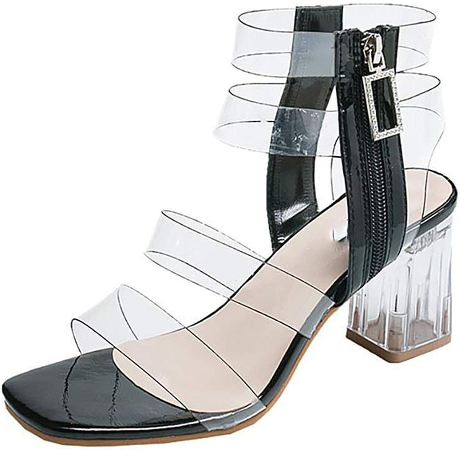 Women Crystal High Heel Thick Sandals PVC Clear Transparent Fairy shoes Outdoor Hollow shoes