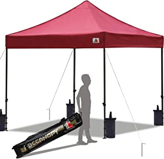 ABCCANOPY Pop up Canopy Tent Commercial Instant Shelter with Wheeled Carry Bag, Bonus 4 Canopy Sand Bags, 10x10 FT Burgundy