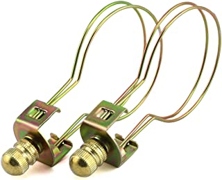 DZS Elec 2-Pack 55x90mm Gold Round Light Bulb Holder with Lamp Shade Attaching Finial DIY Lighting Accessories Clip On Lampshade Adapter