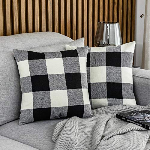 MUDILY Pack of 2 Classic Farmhouse Buffalo Check Plaids Soft Decorative Square Throw Pillow Covers Winter Home Cotton Linen Decor Design Cushion Case Set for Sofa Bedroom Black and White,16x16 Inches
