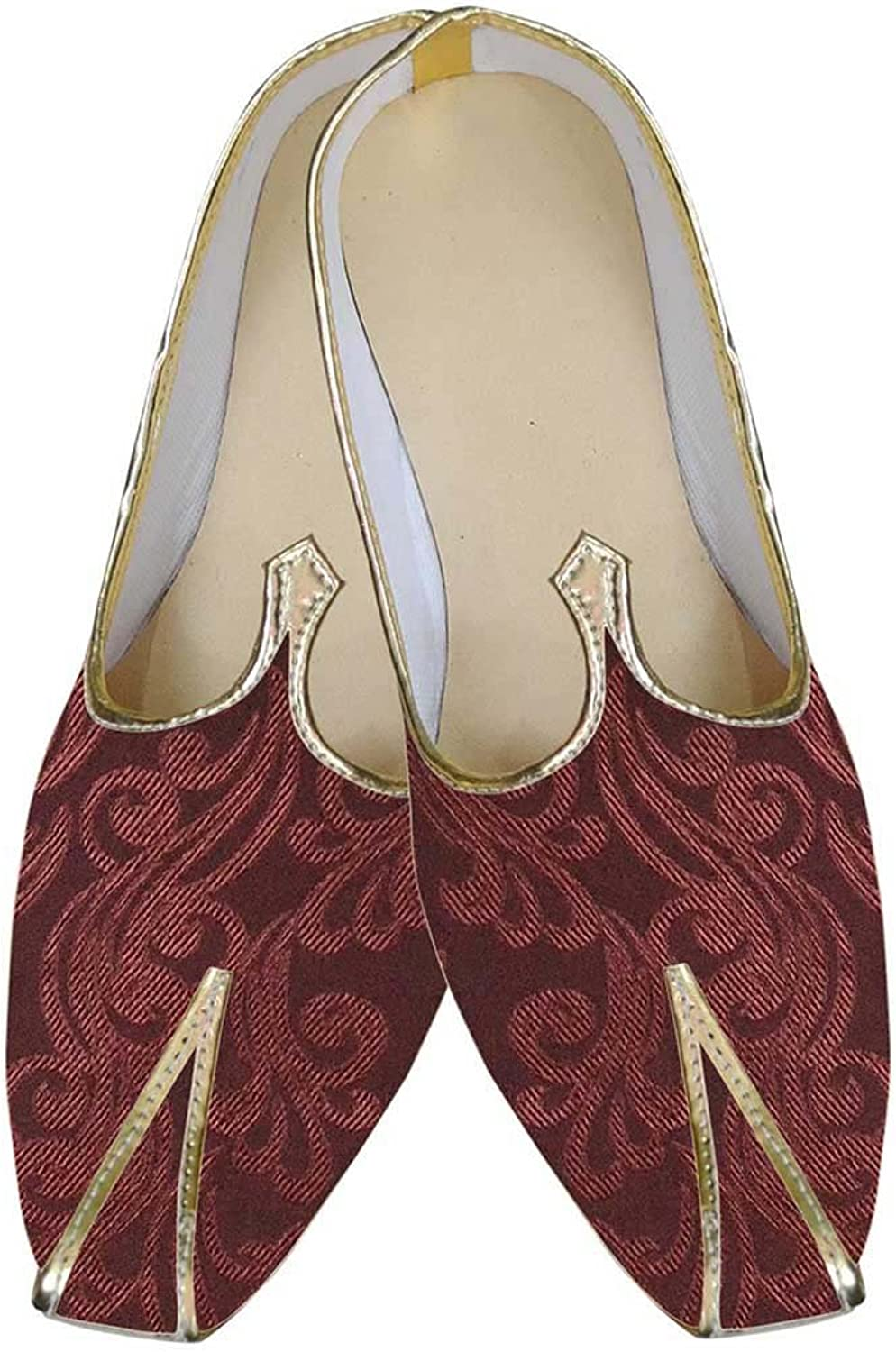 INMONARCH Mens Maroon Brocade Indian Wedding shoes MJ0177