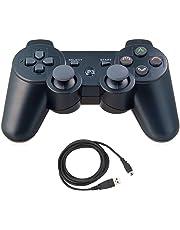 Aoityle PS3対応 ワイヤレスコントローラー 互換 USB ケーブル 日本語説明書 1年保証付き (黒い)