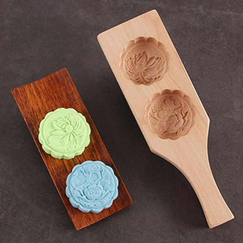 FAERIE Flower Shapes Handmade Environmental Wooden Mooncake Mold For Ice Making D