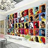 MGQSS 3D Wandbild selbstklebende Tapete 3D Kinderzimmer Held Comics Tapete Spinne Charakter Wandbild Kapitän Fototapete Kinderzimmer Wand Avengers Raumdekoration(B)200x(H)150 cm