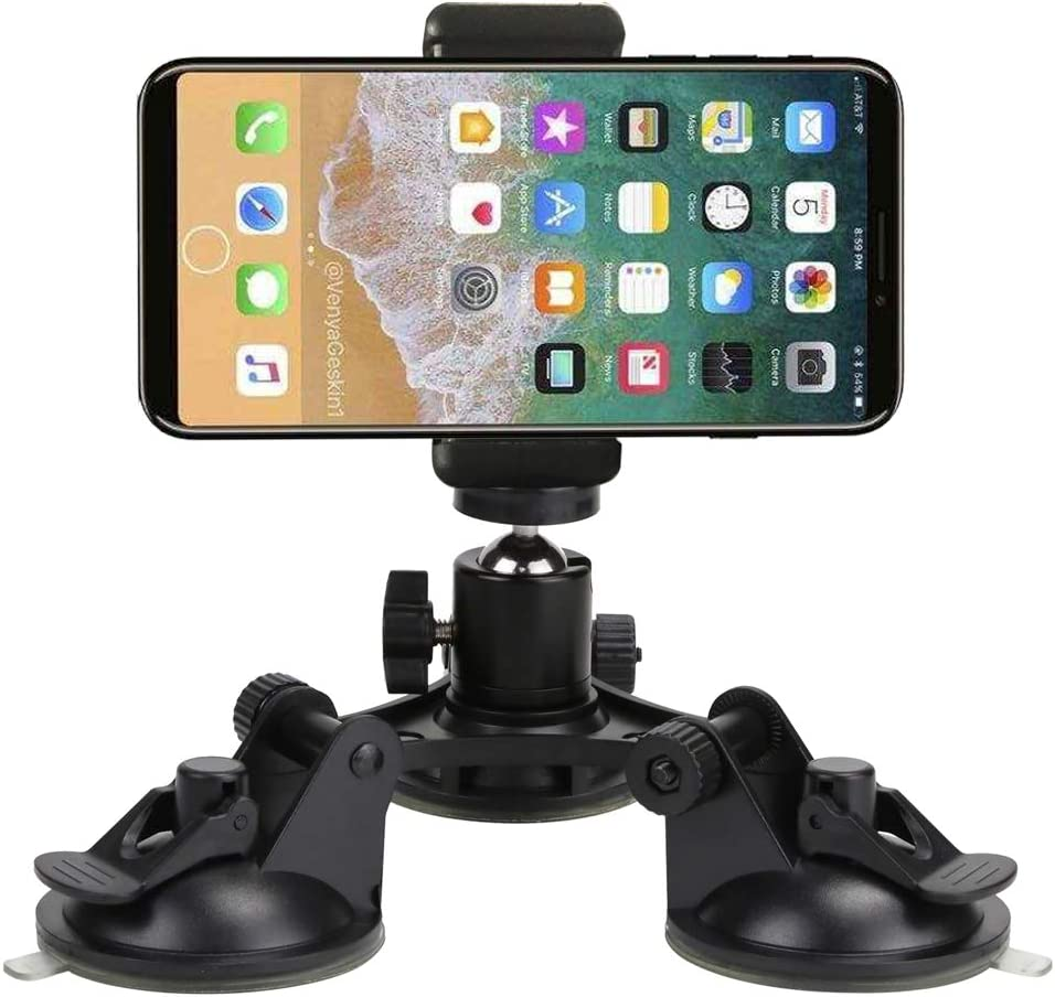 Yoogeer 3-Cup Triple Suction Mount for Car/Window/Boat/Vehicle/Glass for GoPro Sony DJI OSMO Action Camera DSLR Video Camcorder/Any Andriod iOS Cell Phone/iPhone 11 PEO Max XR XS Max X 8 7 6 Plus