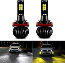 CIIHON H11 H8 H9 LED Fog Light Bulb 3030SMD 35W Lights Bulbs Not Headlight 1900LM Dual Color 6000K White 3000K Yellow DRL Replacement Pack of 2, 1 Year Warranty