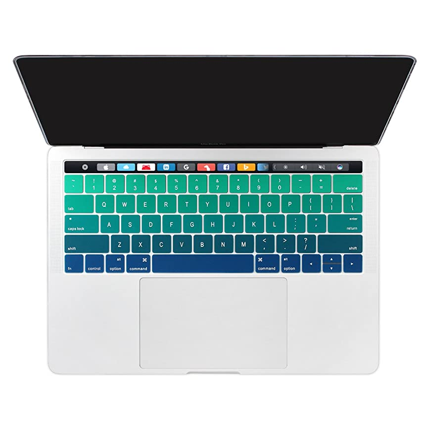 Dongke Ultra Thin Gradient Color Silicone Keyboard Protector Cover Skin for 2018 2017/2016 New MacBook Pro 13 (A1989 A1706) & MacBook Pro 15 (A1990 A1707) with Muti-Touch Bar - Gradient Green