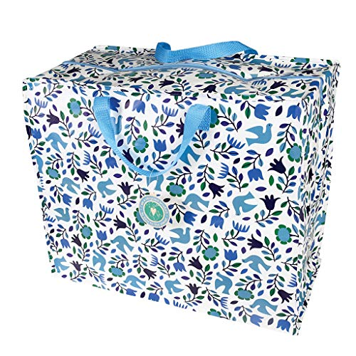 Rex London Folk Doves - Bolsas de almacenamiento grandes con cremalleras (55 x 48 x 28 cm, 70 L)