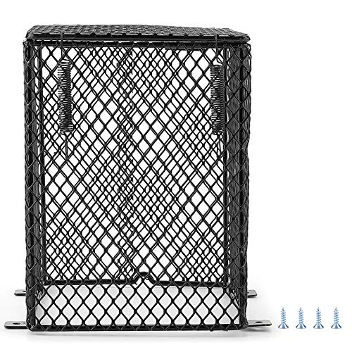 HEEPDD Reptile Heating Lamp lampenkap, bescherming tegen verbranding, keramiek, dag/nacht, incl. beschermbox, kooi voor stroomvoorziening, Cubiod