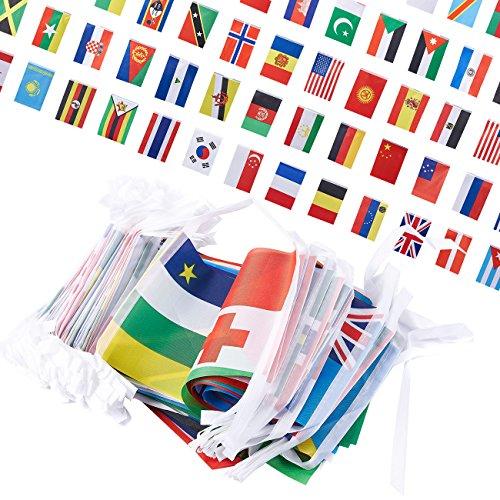 Juvale Set van 250 vlaggen - internationale vlaggen van de wereld, feestdecoraties, 150 verschillende landen, verschillende kleuren, 200 voet lengte, elke vlag 5,2 x 8,5 inch