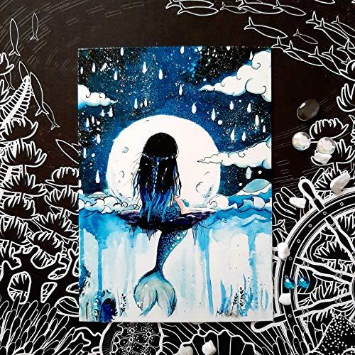 Aquarell Meerjungfrau Postkarte