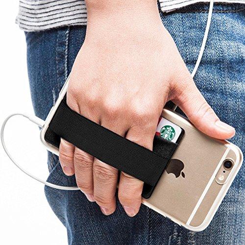 Sinjimoru Smart Wallet mit Handy Fingerhalterung, Slim Wallet/Kartenetui/Kartenhalter/aufklebbare Mini Geldbörse mit Handschlaufe für die Einhandbedienung. Sinji Pouch Band, Schwarz.