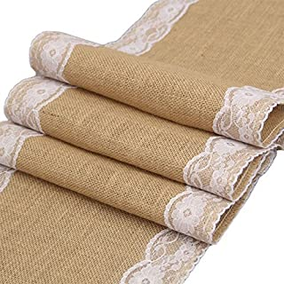 Haperlare 12 x 108 inch Natural Vintage Burlap Table Runner with White Lace Jute Tablecloth Hessian Table Runner Burlap Tablecloth for Country Outdoor Wedding Party Christmas Home Decorations