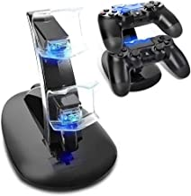 PS4 Controller Base di Ricarica Doppi,AMANKA Dual USB Controller Caricatore Docking Station Stand con LED per Playstation ...