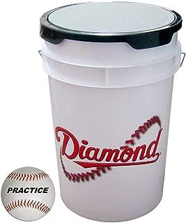 Diamond 6-Gallon White Ball Bucket with 30 Leather Practice Baseballs