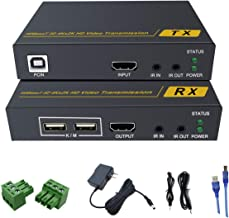 HDMI KVM Extender,Support 4K@30Hz & 3D & 1080P,230 Ft Full HD 1080P 131 Ft Full HD 4K Transmit Over Single Cat5e/Cat6/Cat7,POE & RS232 & EDID & CEC & Bi-Directional IR & USB Supported