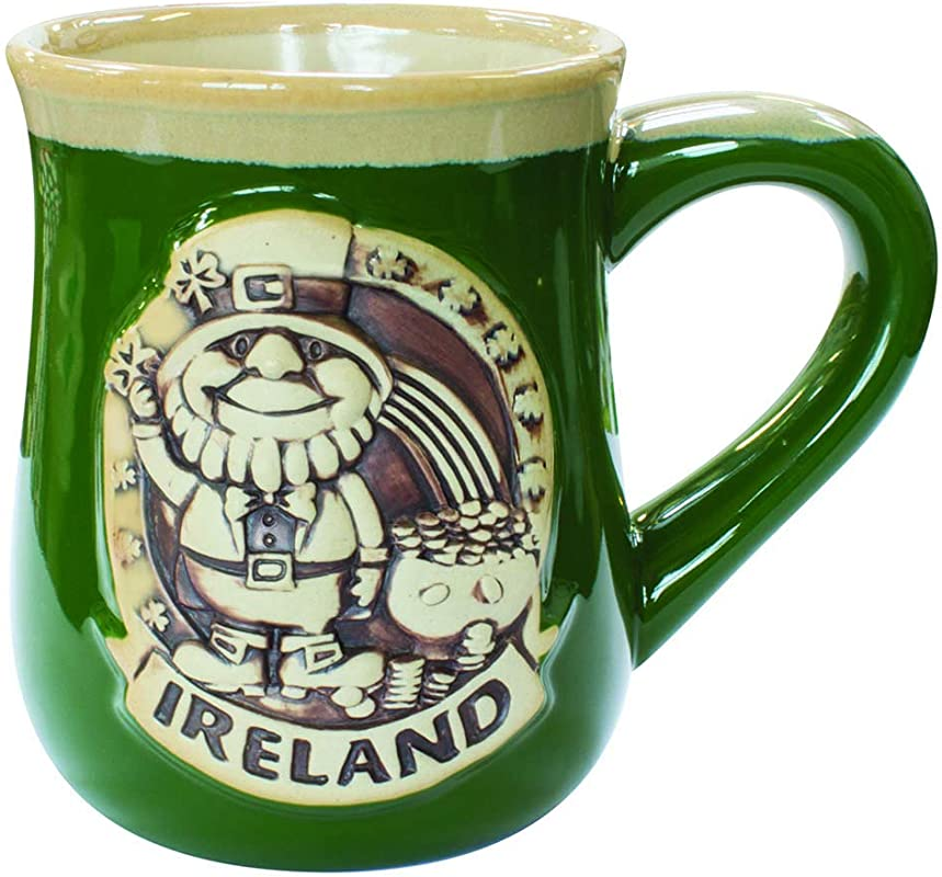 Irish Designed Pottery Mug With A Leprechaun Design Green Colour