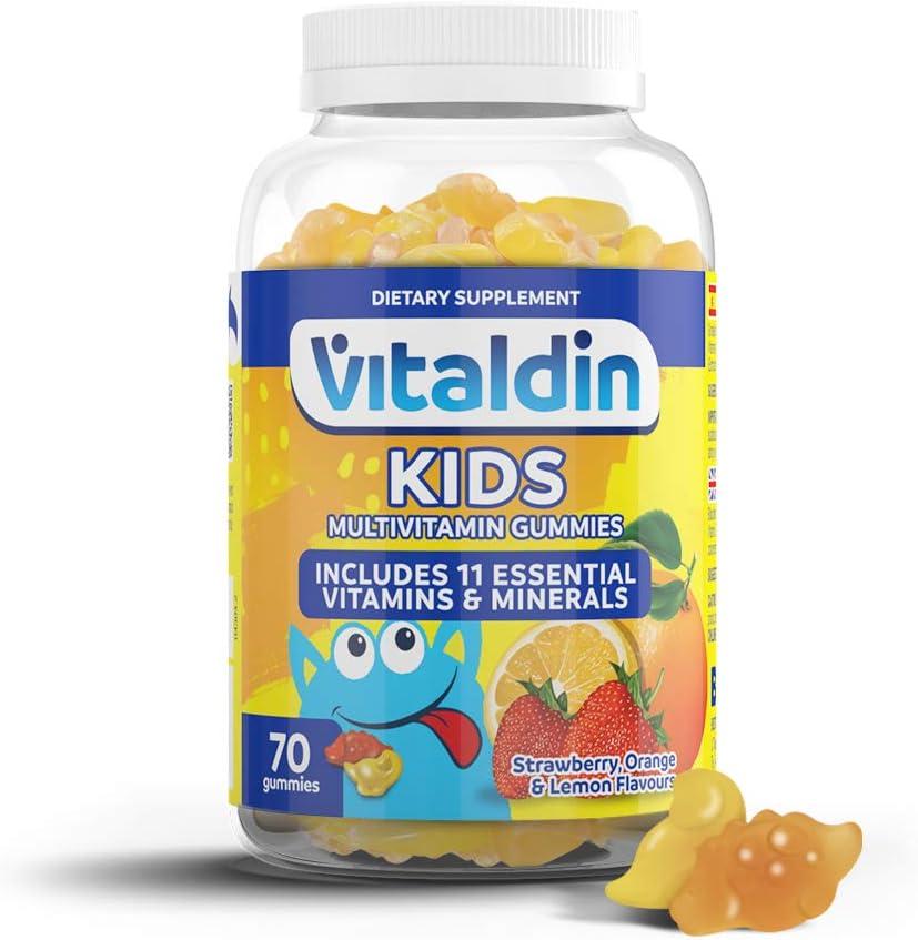 VITALDIN Multivitaminas Kids gummies - Complemento Alimenticio para Niños con 11 Vitaminas & Minerales - 70 gominolas (suministro para 1 mes); sabor a Frutas - Vitalidad & Inmunidad - Sin Glut