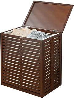 mDesign coffre à linge en bambou – caisse de rangement pliable avec sac à linge amovible – corbeille à linge pour salle de...