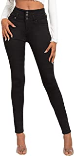 "Jeanswear Juniors' 11"" High-Waisted Three-Button Waistband Skinny Jeans"