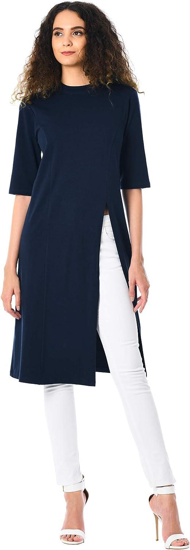 1950s Hostess Gown Pant Set- I Love Lucy Dress eShakti FX Side Vent Cotton Knit Tunic - Customizable Neckline Sleeve & Length  AT vintagedancer.com