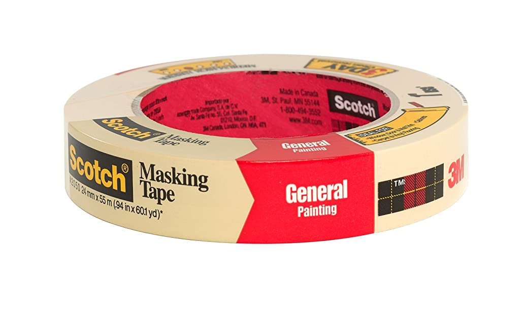 Scotch Greener Masking Tape for Performance Painting, 2050-24A-BK, 0.94-Inch by 60.1-Yards, 1 Roll