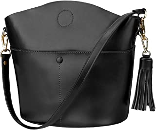 Women's Small Cowhide Genuine Leather Crossbody Bag Shoulder Purse Handbag with Tassel