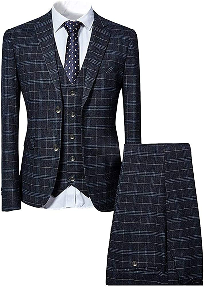 Mens 3 Piece Slim Limited time sale fit SALENEW very popular Checked Blue Single Black Vi Suit Breasted