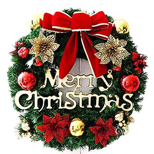 Tamkyo Decoraciones navideñas 30 cm corona de Navidad para colgar en la puerta de la ventana, fondo, accesorios para árbol de Navidad, color dorado