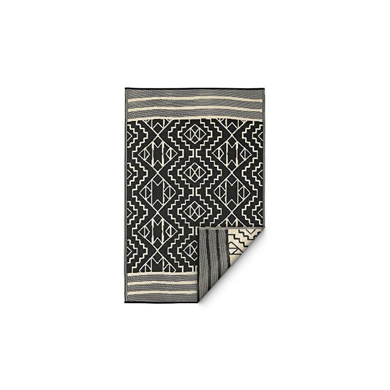silk flower arrangements fab habitat reversible rugs | indoor or outdoor use | stain resistant, easy to clean weather resistant floor mats | kilimanjaro - black, 6' x 9'