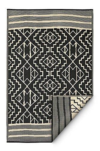 Fab Habitat Reversible, Indoor/Outdoor Weather Resistant Floor Mat/Rug - Kilimanjaro - Black (120_x_180_cm)