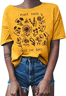 Shusuen Plant These Save The Bees Shirt Flowers T Shirt Tee Tops