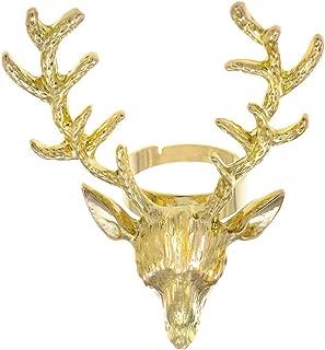 Thorsten Wildlife Stag Deer Elk Animal Antlers Print Pattern Ring Flat Black Tungsten Ring 12mm Wide Wedding Band from Roy Rose Jewelry
