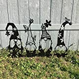 Ssuper Large 16.3' Steel Branch Gnomes Decoration,Easter Yard Signs,Cute Hollowed Out Garden Gnomes Steel Silhouette Art Dwarf Decor Easter Yard Stakes for Home Garden Patio Outdoor Decoration (D)