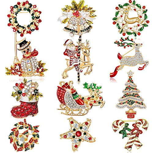 12 Pieces Enamel Christmas Brooch Pins Jewelry for Woman Kids Holiday Xmas Gift (Style A)