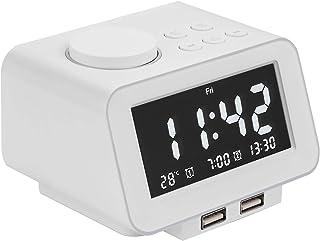 Alarm Clocks for Bedrooms, LED Digital Alarm Clock Radio with FM Radio, Dual USB Port for Charger, Dual Alarms, 5 Level Br...