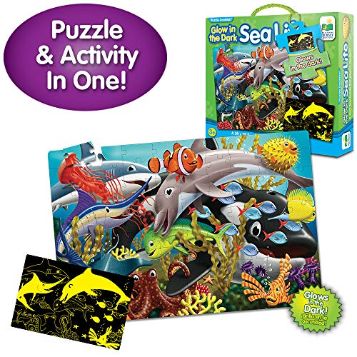 The Learning Journey Puzzle Doubles Glow in The Dark - Sea Life - 100 Piece Glow in The Dark Preschool Puzzle (3 x 2 feet) - Educational Gifts for Boys & Girls Ages 3 and Up