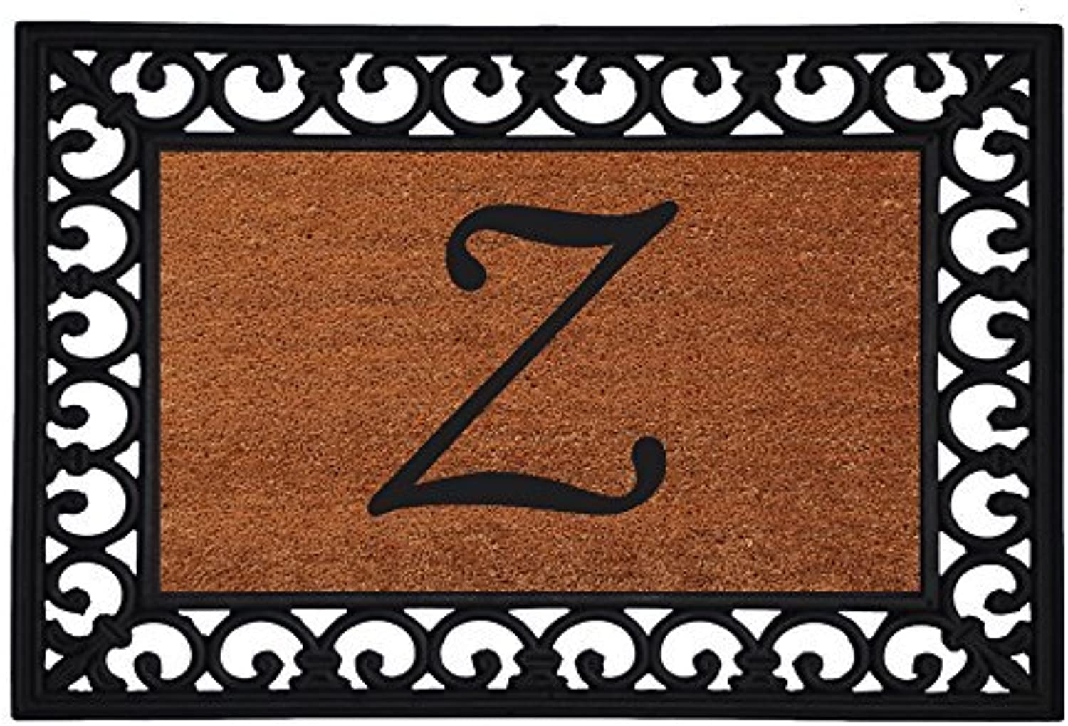 Home & More 180041925Z Inserted Doormat, 19  X 25  x 0.60 , Monogrammed Letter Z, Natural Black