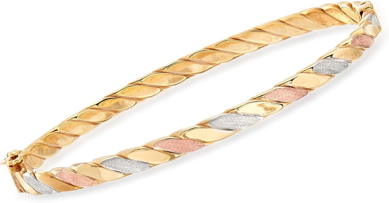 Ross-Simons Italian 18kt Tri-Colored Gold Twisted Bangle Bracelet