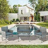 LIFE CARVER Garten Lounge Set Polyrattan Sitzgruppe für 4 Personen Balkonmöbel Set Gartenmöbel-Set, 4-teilig, 2 Sessel, Sofa & Tisch, inkl. Sitzkissen für Garten Balkon & Terrasse, Grau
