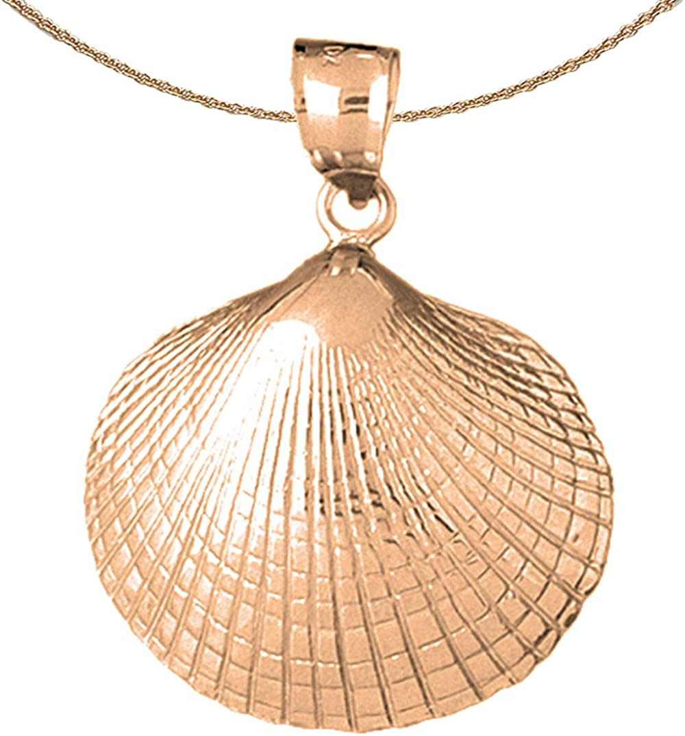 Jewels Obsession Shell Necklace 14K Pendant wi Rose Kansas City Mall 40% OFF Cheap Sale Gold