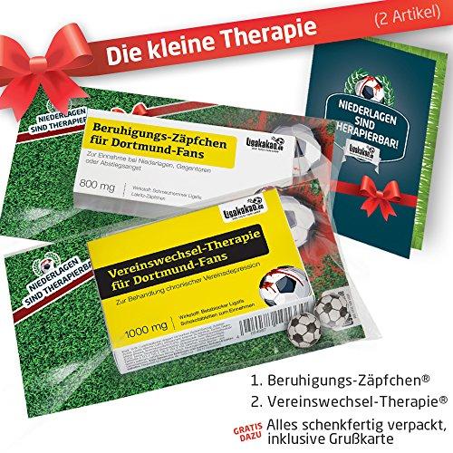 Die Kleine Therapie für Dortmund-Fans   2X süße Saison-Schmerzmittel   Witzige Geschenke & Fanartikel by Ligakakao.de   Besser als Kaffee-Tasse, Kaffeepott, Becher oder Fahne