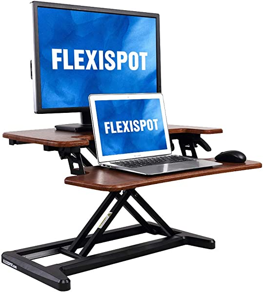 FlexiSpot 立式台式转换器 28 带笔记本电脑深键盘托盘的立式台式立管 28 红木 M7N