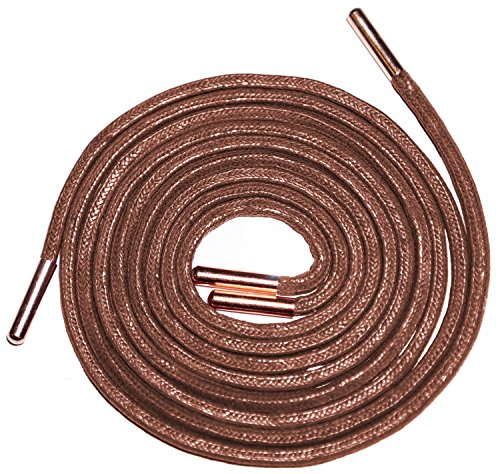 "Shoeslulu 47"" Premium Square Waxed Shoelaces with Metal Aglets Tips (47 in. (120 cm), Cigar Brown/Rose Gold Tips)"