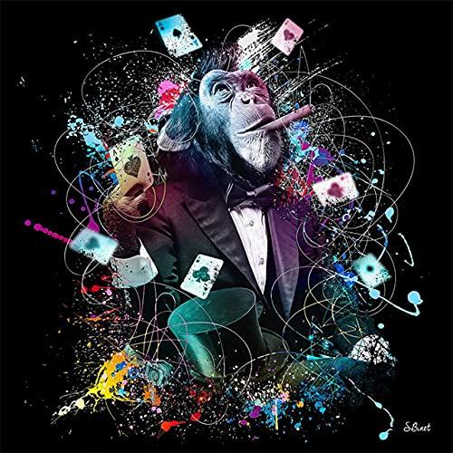 YRZYT Graffiti Gracioso Gorila Fumar Poster Cuadros DJ MúSica Mono Pared Arte Animal Poster Cuadros Colorido Lienzo Estampados Pop Cuadro Moderno Salon Sala Decoracion ImáGenes