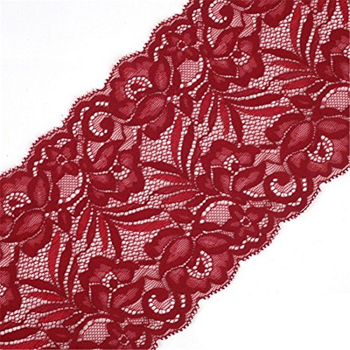 Cinta de encaje floral elástica de tul de 15 cm de ancho para manualidades, manualidades, ropa, accesorios, regalo, boda, fiesta, decoración granate