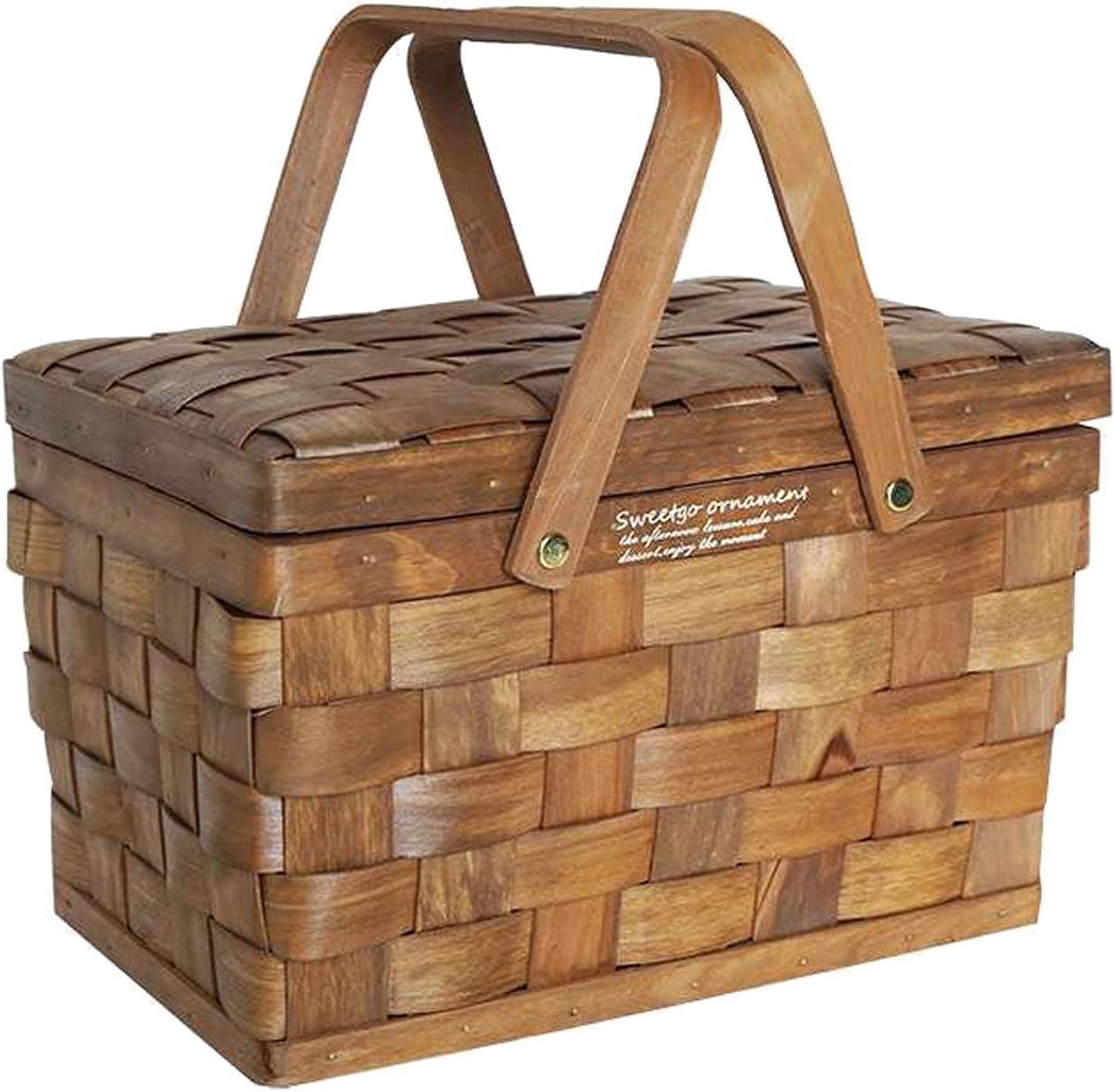 Cesta de mimbre de madera para pícnic con tapa y asa, cestas de mimbre de regalo, cestas de mimbre vacías, ovaladas, de sauce, para pícnic