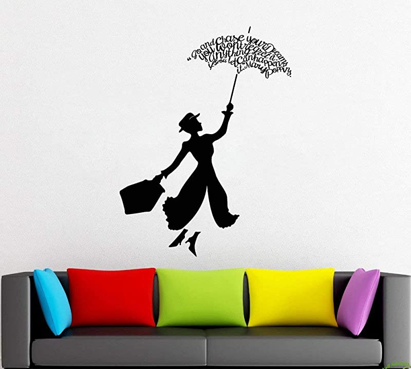 Mary Poppins Wall Decals Decor Mary Poppins Quotes Art Stickers Decorations Vinyl Pictures For Office Studio Shop Home Kids Nursery Room Bedroom Door Window MP001